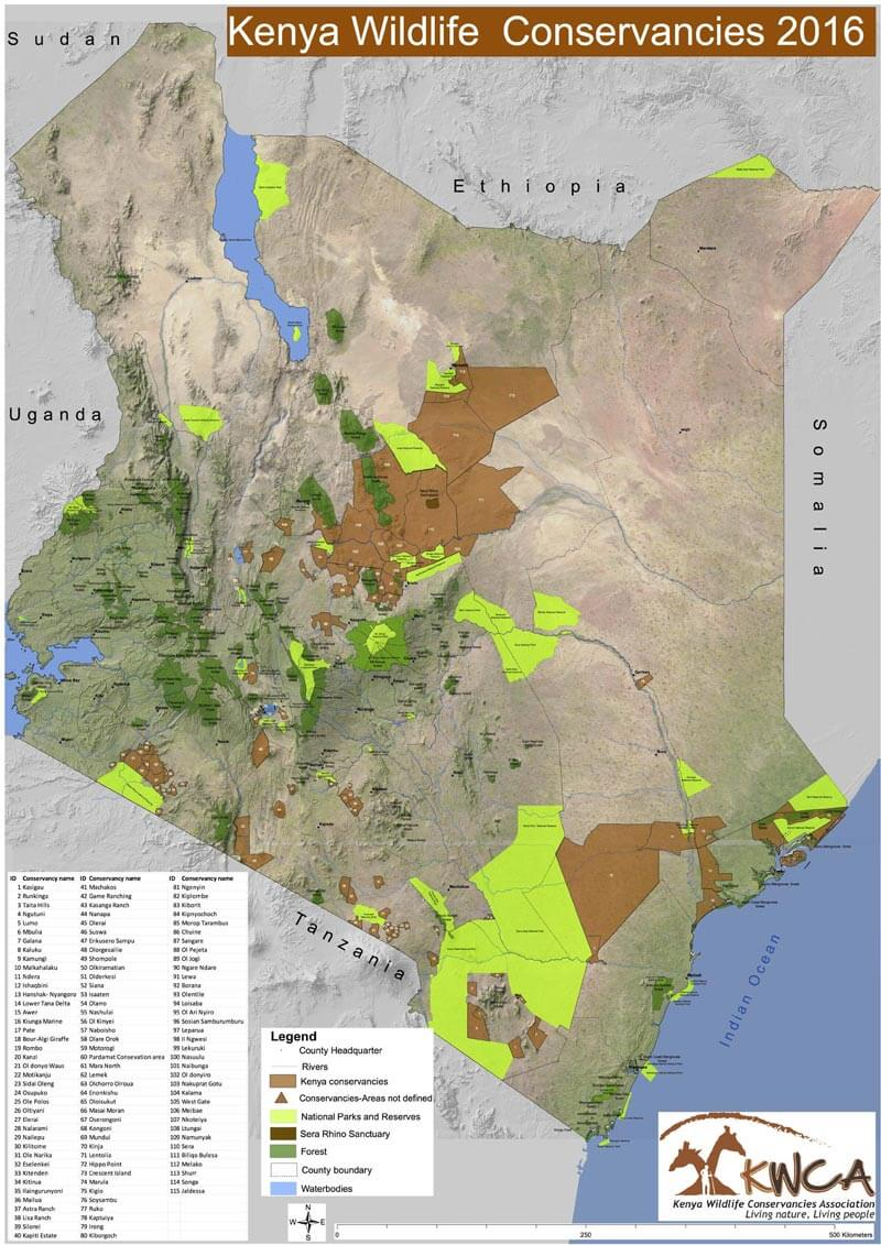 KWCA's Kenya National Wildlife Conservancies Map 2016